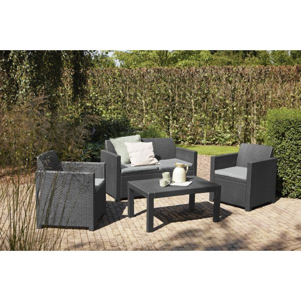 Conjunto Merano 2 sillones+sofá + mesa auxiliar. Antracita