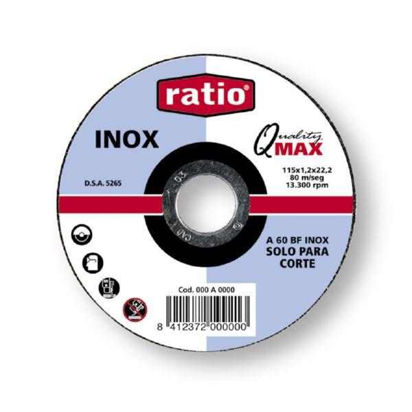 Disco plano corte Inox./metal. 115x1,0 mm. Quality Max.